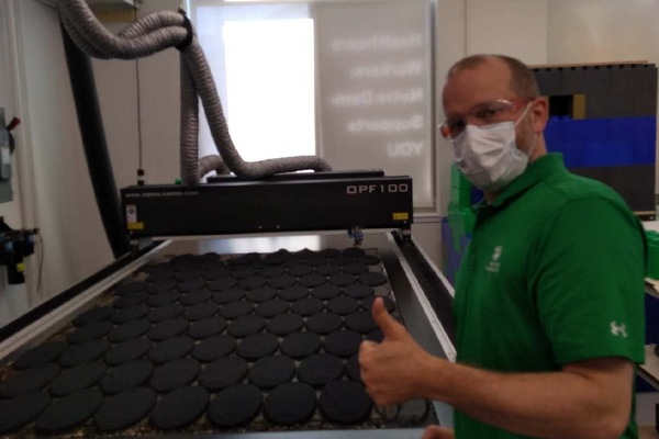The Kern laser cutter can produce 850 masks in a single pass.
